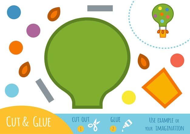 아이들을 위한 교육용 종이 게임, 풍선. 가위와 풀을 사용하여 이미지를 만듭니다.