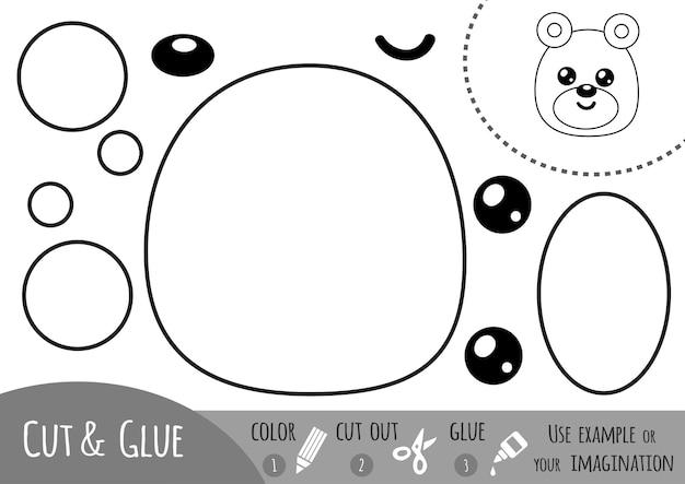 어린이를 위한 교육용 종이 게임, 곰. 가위와 풀을 사용하여 이미지를 만듭니다.