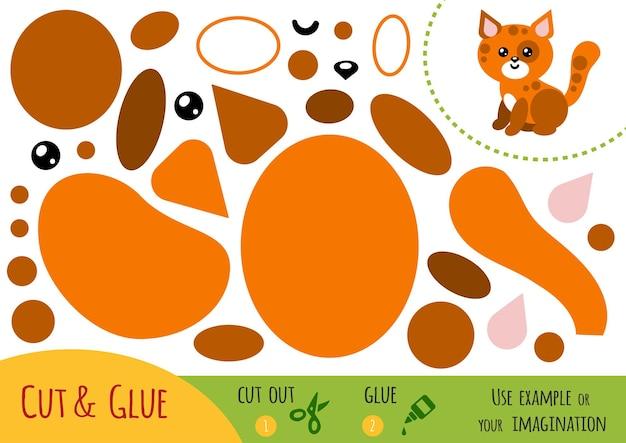 아이들을 위한 교육용 종이 게임, 고양이. 가위와 풀을 사용하여 이미지를 만듭니다.