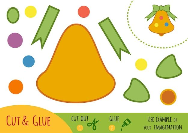 Обучающая бумажная игра для детей, рождественский колокольчик. используйте ножницы и клей для создания изображения.
