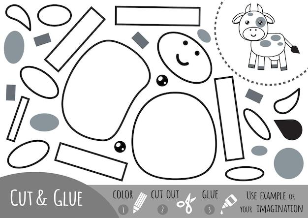 어린이를 위한 교육용 종이 게임, 암소. 가위와 풀을 사용하여 이미지를 만듭니다.