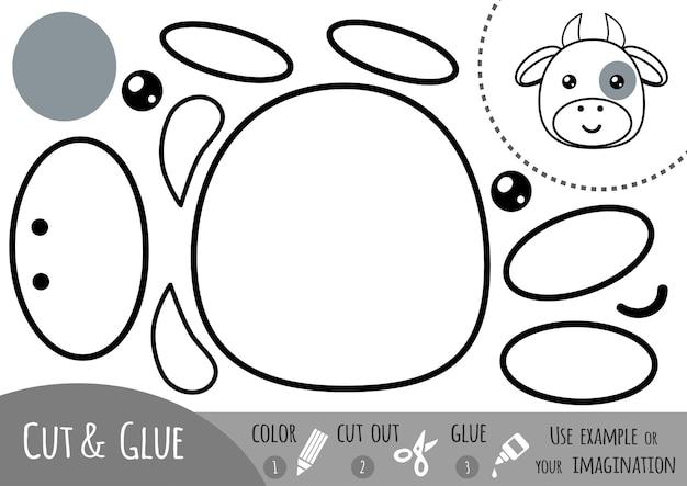 子供のための教育紙ゲーム、牛。はさみと接着剤を使用して画像を作成します。