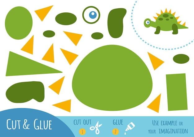 어린이를 위한 교육용 종이 게임, 공룡. 가위와 풀을 사용하여 이미지를 만듭니다.