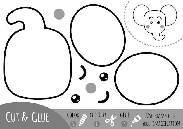 아이들을 위한 교육용 종이 게임, 코끼리. 가위와 풀을 사용하여 이미지를 만듭니다.