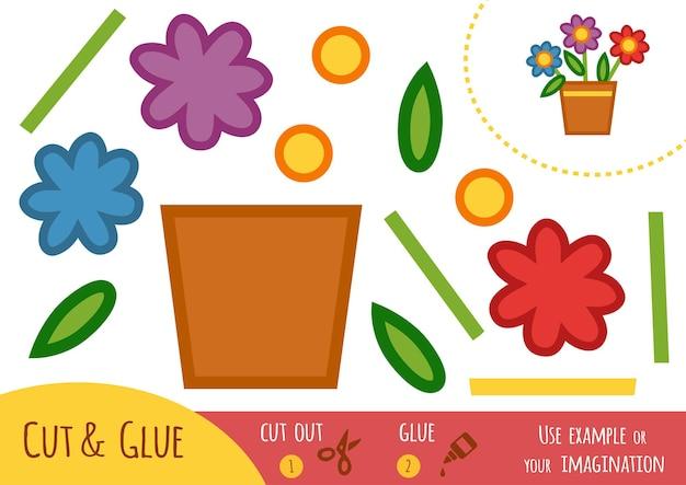 어린이를 위한 교육용 종이 게임, 냄비에 꽃. 가위와 풀을 사용하여 이미지를 만듭니다.