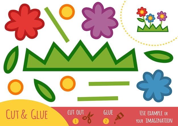 아이들을 위한 교육용 종이 게임, 꽃. 가위와 풀을 사용하여 이미지를 만듭니다.