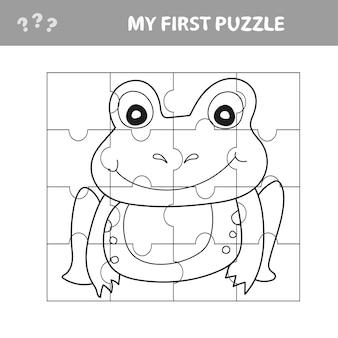 Развивающая бумажная игра для детей, лягушка. используйте детали для создания изображения. моя первая головоломка и книжка-раскраска