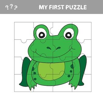 Развивающая бумажная игра для детей, лягушка. используйте детали для создания изображения. моя первая головоломка