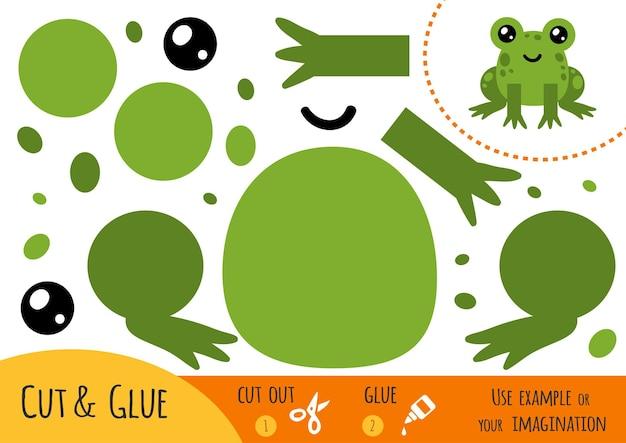 어린이를 위한 교육용 종이 게임, 개구리. 가위와 풀을 사용하여 이미지를 만듭니다.
