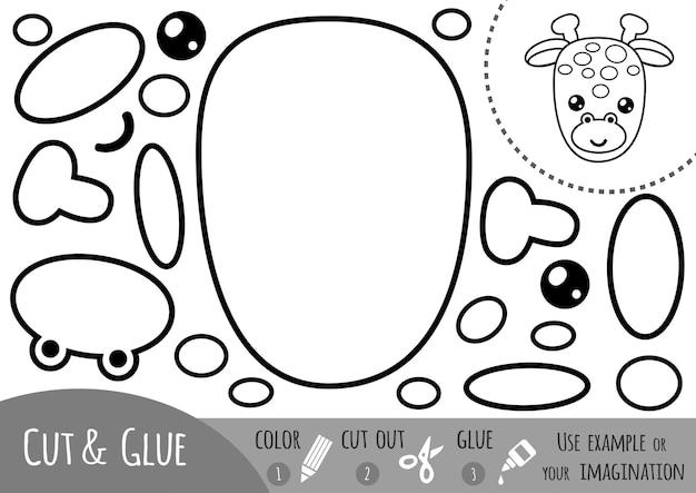 아이들을 위한 교육용 종이 게임, 기린. 가위와 풀을 사용하여 이미지를 만듭니다.