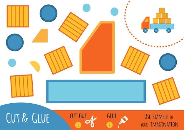 어린이를 위한 교육용 종이 게임, 로리. 가위와 풀을 사용하여 이미지를 만듭니다.