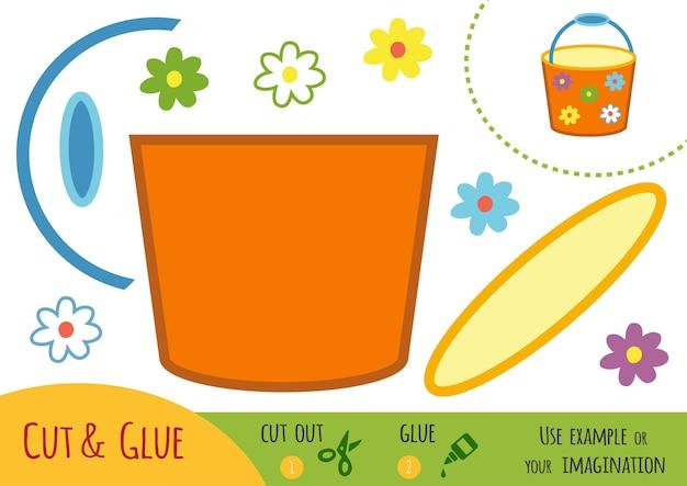 Развивающая бумажная игра для детей, ведро. используйте ножницы и клей для создания изображения.