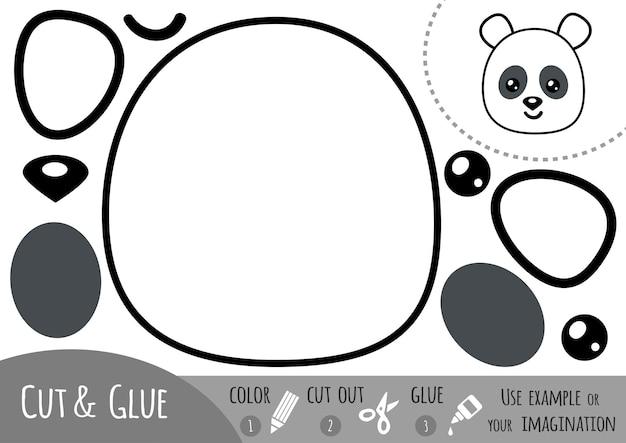 어린이를 위한 교육용 종이 게임, 팬더. 가위와 풀을 사용하여 이미지를 만듭니다.