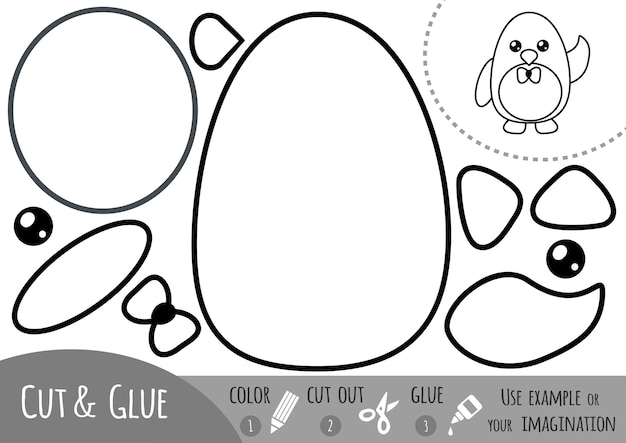 子供のための教育紙ゲーム、ペンギン。はさみと接着剤を使用して画像を作成します。