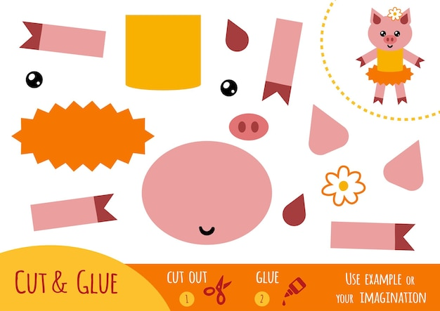 어린이를 위한 교육용 종이 게임, 돼지. 가위와 풀을 사용하여 이미지를 만듭니다.