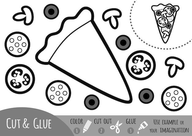 어린이를 위한 교육용 종이 게임, 피자. 가위와 풀을 사용하여 이미지를 만듭니다.