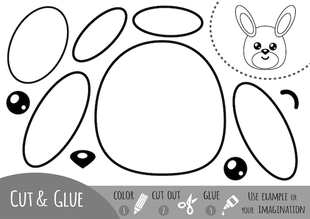 아이들을 위한 교육용 종이 게임, 토끼. 가위와 풀을 사용하여 이미지를 만듭니다.