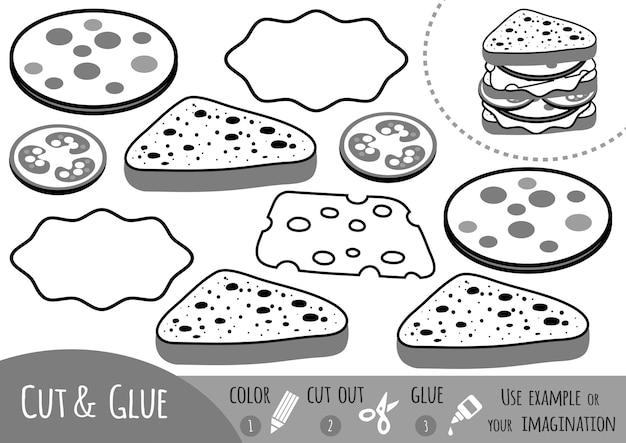 Развивающая бумажная игра для детей, бутерброд. используйте ножницы и клей для создания изображения.