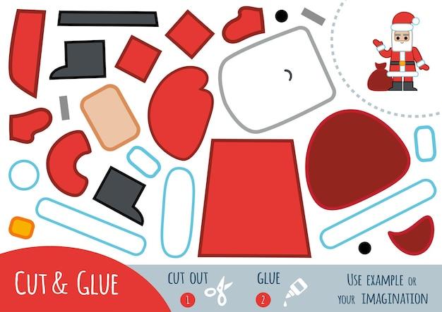 어린이를 위한 교육용 종이 게임, 산타클로스. 가위와 풀을 사용하여 이미지를 만듭니다.