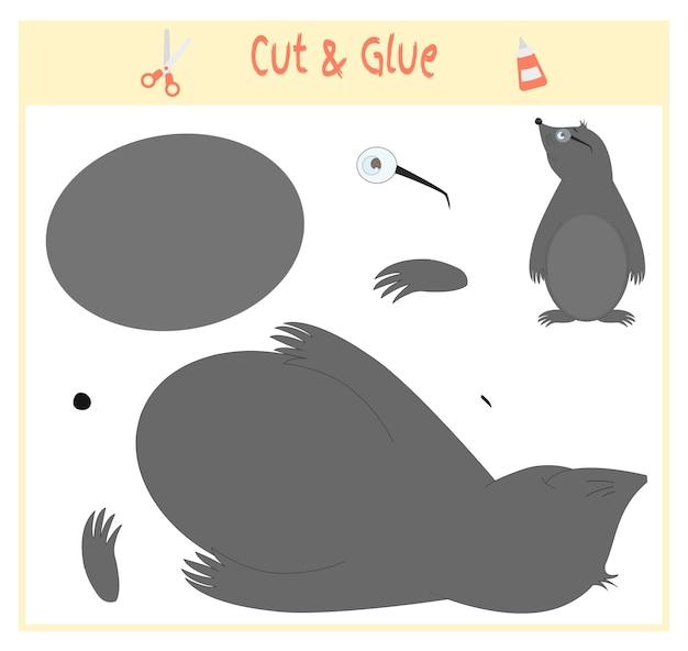 미취학 아동의 발달을 위한 교육용 종이 게임. 이미지의 일부를 잘라 종이에 붙입니다. 벡터 일러스트 레이 션. 가위와 풀을 사용하여 아플리케를 만듭니다. 두더지 동물.