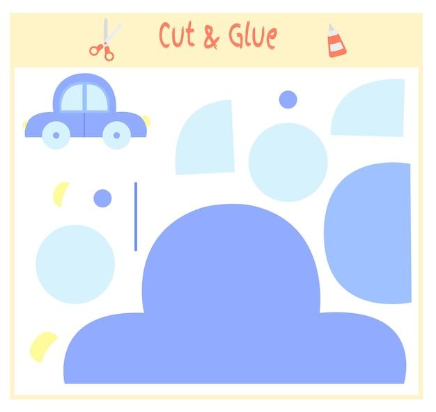 Обучающая бумажная игра для развития дошкольников. вырежьте части изображения и приклейте на бумагу. векторная иллюстрация. для создания аппликации воспользуйтесь ножницами и клеем. игрушечная машина.
