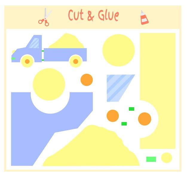 Обучающая бумажная игра для развития дошкольников. вырежьте части изображения и приклейте на бумагу. векторная иллюстрация. для создания аппликации воспользуйтесь ножницами и клеем. игрушечный грузовик песочный.