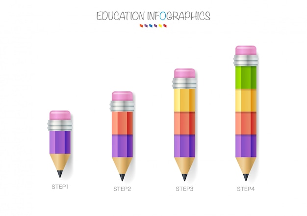 Education pencil infographics step 4 option