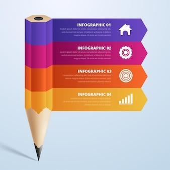 교육 연필 인포 그래픽 단계 옵션