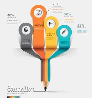 教育鉛筆インフォグラフィックステップオプション