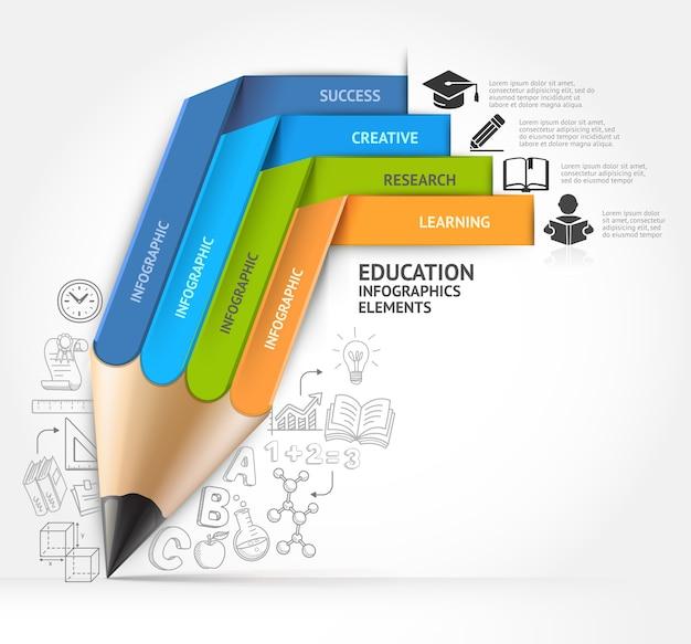 教育鉛筆階段インフォグラフィックオプション。