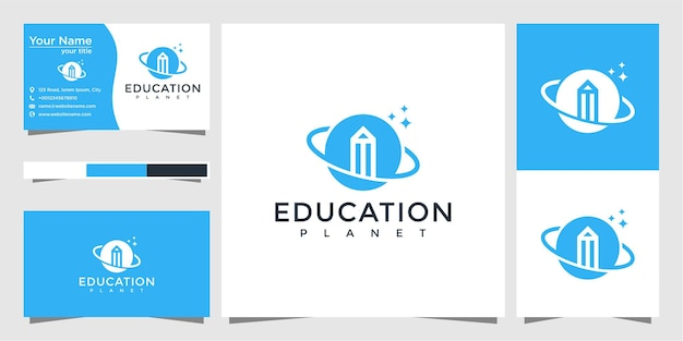 Education planet logo design and business card
