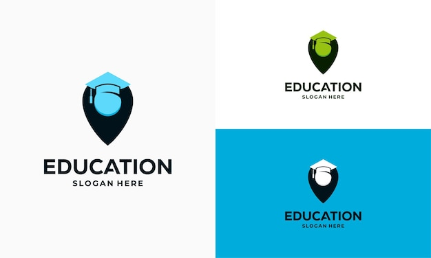 Education point logo designs concept vector illustration, learning center logo symbol icon template
