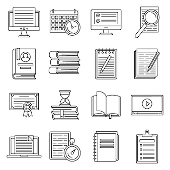 Education preparation for exams icons set, outline style