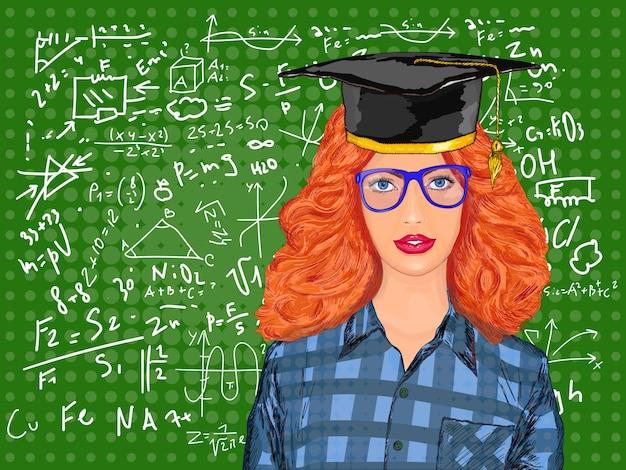 Образование красивой девушки в школьных досках