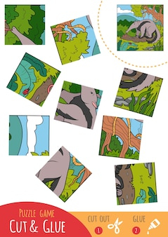 Education puzzle game for children, anteater. use scissors and glue to create the image.