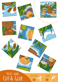 Education puzzle game for children, duck family. use scissors and glue to create the image.