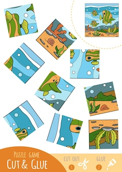 Education puzzle game for children, fish family. use scissors and glue to create the image.