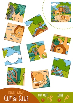 Education puzzle game for children, lion. use scissors and glue to create the image.