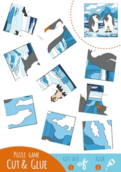 Education puzzle game for children, penguin. use scissors and glue to create the image.
