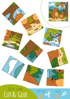 Education puzzle game for children, two bears. use scissors and glue to create the image.