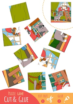 Education puzzle game for children, two cats. use scissors and glue to create the image.