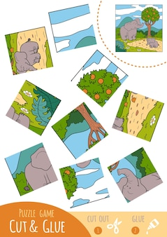 Education puzzle game for children, two elephants. use scissors and glue to create the image.