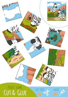 Education puzzle game for children, two zebras. use scissors and glue to create the image.