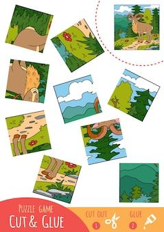 Обучающая игра-головоломка для детей, уриал. используйте ножницы и клей для создания изображения.