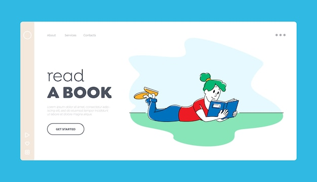 Education or reading hobby landing page template