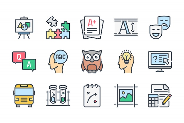 Education related color line icon set.