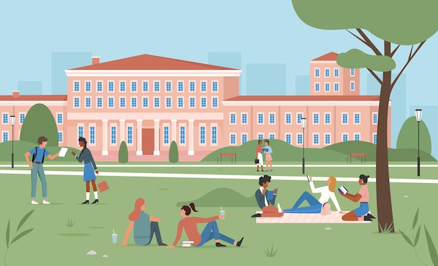 Education scene happy students sitting on summer park green grass together studying