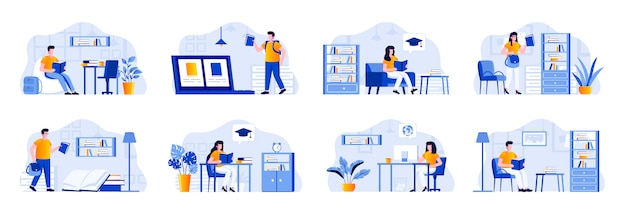 Education scenes bundle with people characters. distance learning program in university, students studying in library, read book at home situations. online education platform flat illustration.