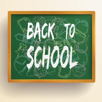 Fondo della scuola di istruzione con elementi disegnati a mano sulla lavagna verde isolata