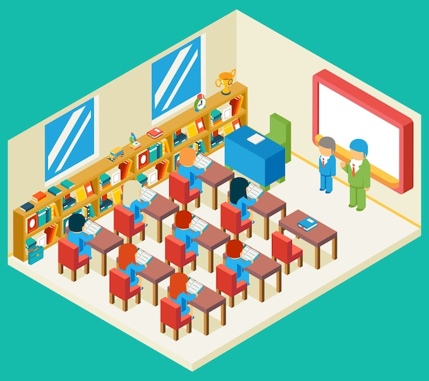 Education and school class isometric 3d concept. bookshelf and teacher, pupil and isometric people, classroom and children,
